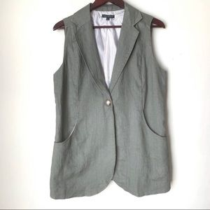 For Cynthia Linen Green Vest